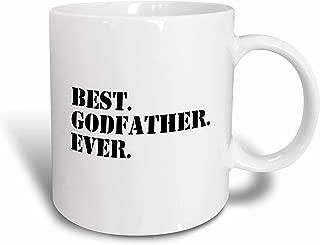 3dRose mug_151497_2 Best Godfather Ever Gifts for God Fathers or Goddads God Dad Godparents Black Text Ceramic Mug, 15-Ounce