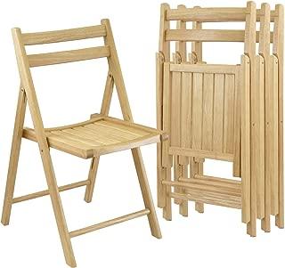 Winsome Wood Folding Chairs, Natural Finish, Set of 4 (Renewed)