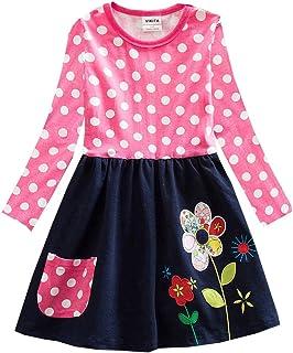 f330dee87852 VIKITA Baby Girl Cartoon Flower Cotton Dress Long Sleeve Winter Dresses for  2-8 Years