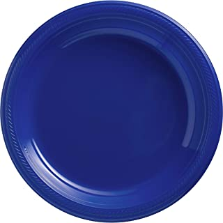 Amscan 630732.105 Bright Royal Blue Big Party Pack Plastic Plates, 10 1/4