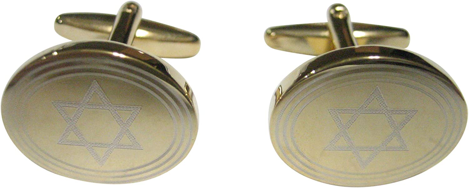Kiola Designs Gold Toned Etched Oval Religious Star of David Cufflinks