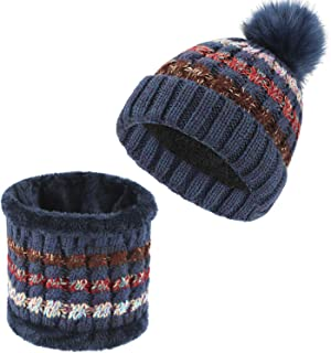 TAGVO Winter Warm Beanie Scarf Set, Women Ladies Thermal Thick Knitted Fleece Liner Stripe Ball Hats Neck Warmer Set for Indoor and Outdoor
