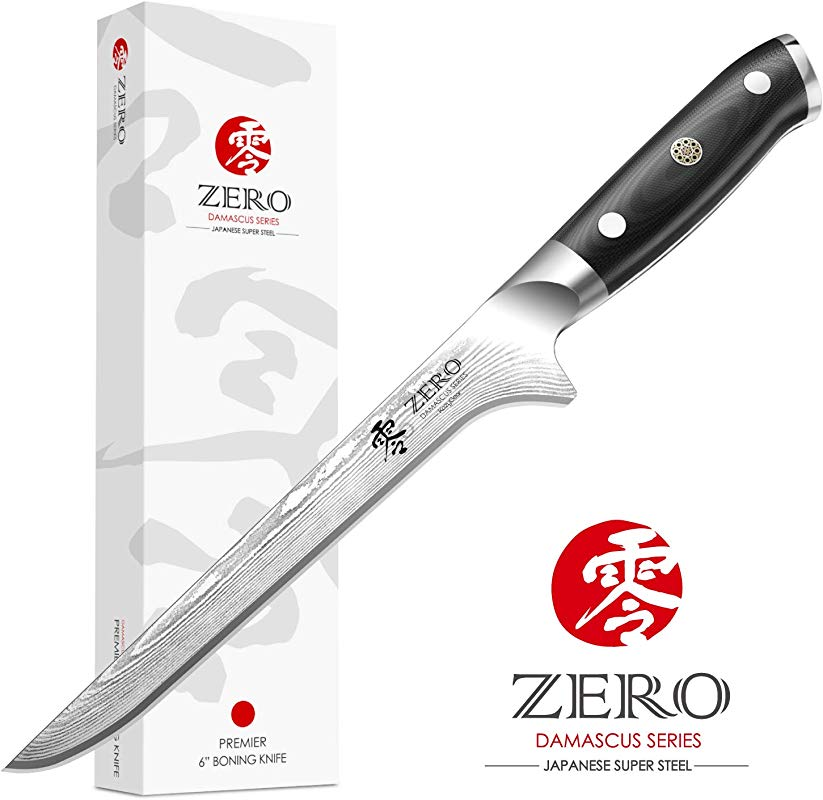 KozyGear 6 Inch VG 10 Boning Knife And Ergonomic Handle 100 Ultra Premium Japanese Damascus Steel B600