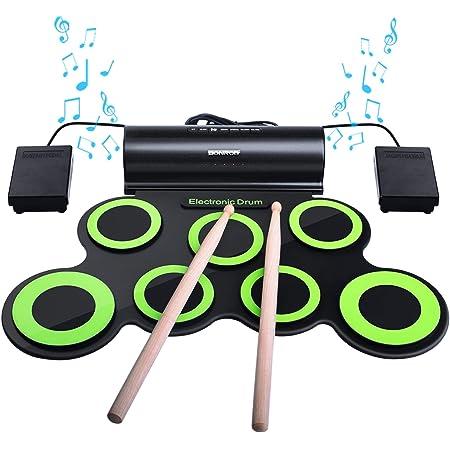 BONROB Batterie Electronique Drum Set, Roll Up percussions Midi Drum Kit avec Casque et Enceintes intégrées Drum Pedals et Baguettes, jusqu'à Lot de 10 Feuilles. Temps de Jeu, Cadeau de Noël