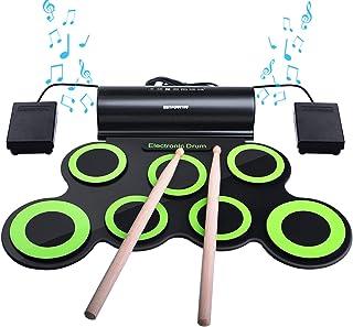 BONROB Batterie Electronique Drum Set, Roll Up percussions Midi Drum Kit avec casque et enceintes intégrées Drum Pedals et...
