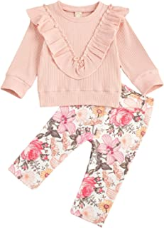Sponsored Ad - Newborn Baby-Girls Casual Suit Spring Outfits 2PCS Pit Strip Ruffled Long-Sleeved top + Elastic Waist Flora...