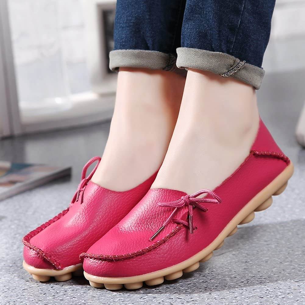 Womens Leather Moccasins Slip On Driving Shoes