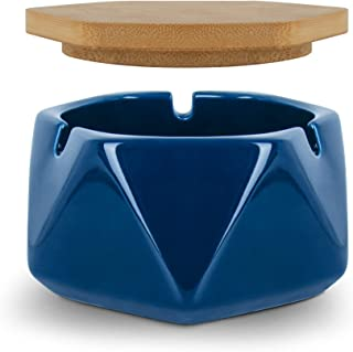 Cendrier en Céramique Avec Couvercle en Bambou, Beau Etdurable, Facile à Nettoyer, Adapté à la Décoration de La maison (Bleu)