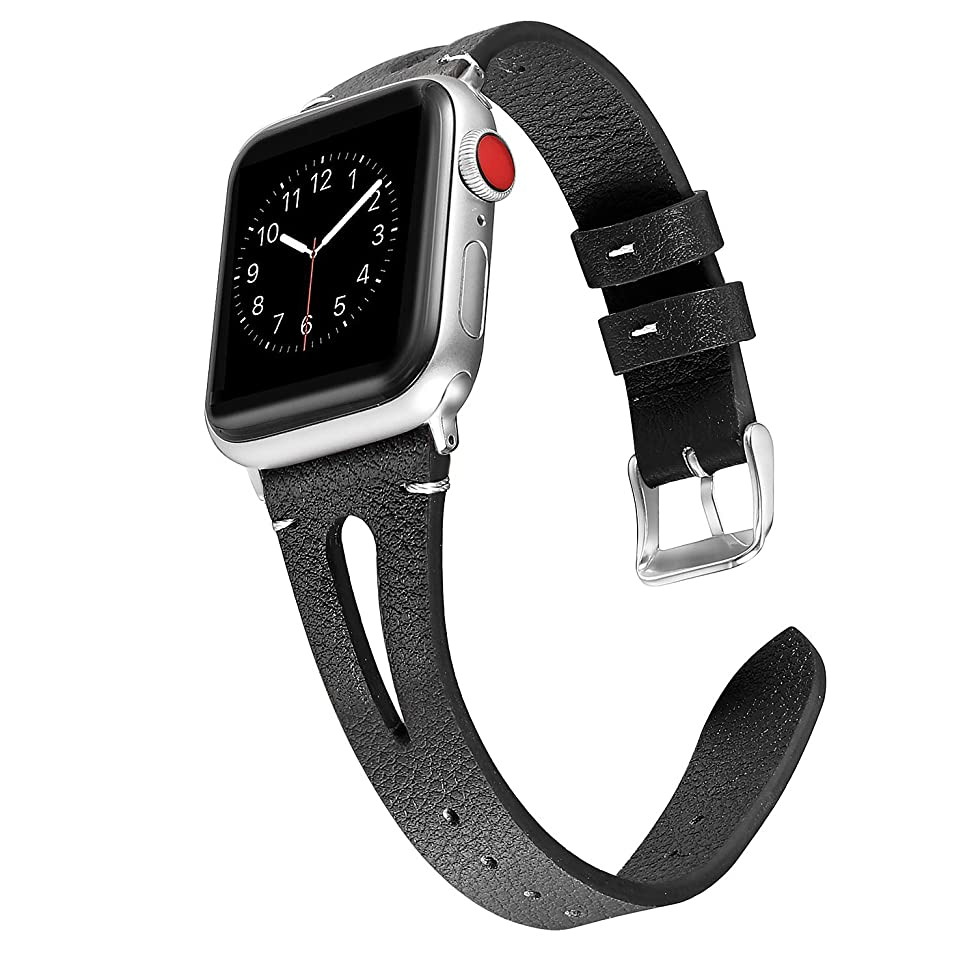 Secbolt Leather Bands Compatible with Apple Watch 38mm 40mm iwatch Series 4 3 2 1, Slim Strap with Breathable Hole Replacement Wristband Women