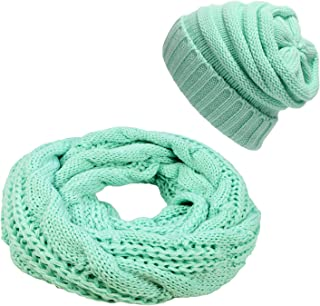 Infinity Scarf and Beanie Hat Set Winter Thick Circle Loop Scarves & Slouchy Hats for Men Women
