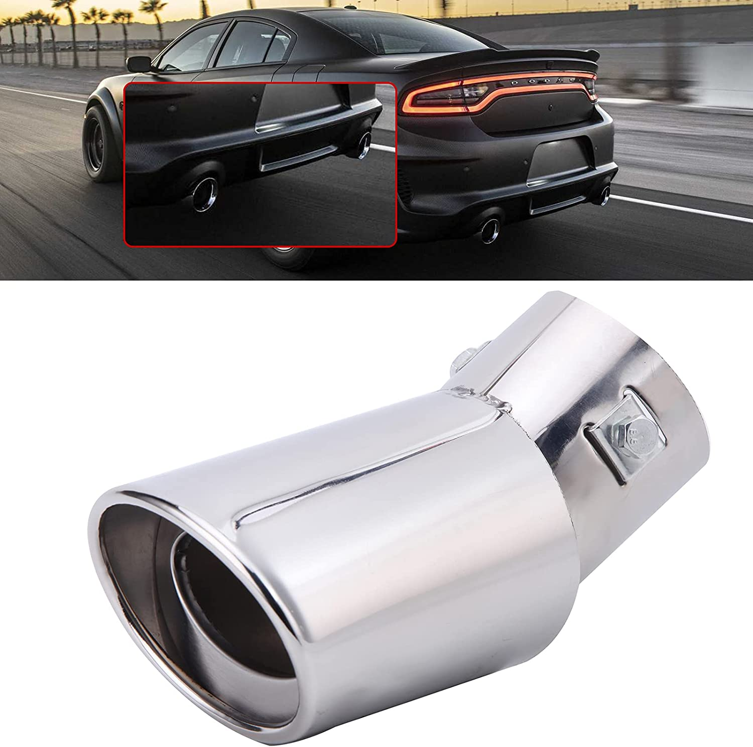 Chrome Auto Fashionable Car Exhaust At the price Pipe Tip Tail Muffler Stainless Re Steel