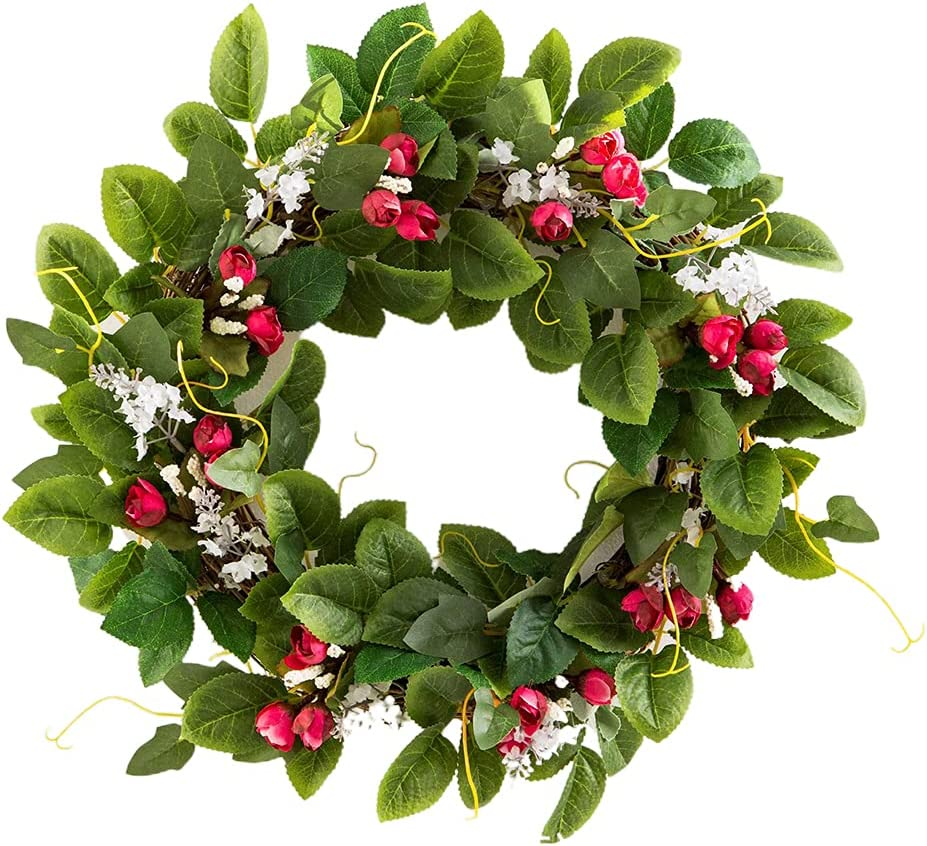 1 year warranty Itlovely 18'' Rose Flower Wreath G Leaf Artificial Spring Jacksonville Mall Floral