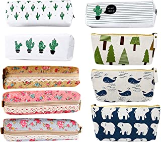 9pc Assorted Pen Bag Pencil Case, Creatiee Forest and Animal Theme Canvas Design|Cactus Canvas Design|Flower Floral Canvas Design, Pen Holder Stationery Pencil Pouch Cosmetic Bags
