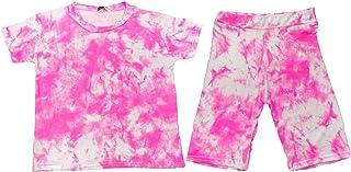 Kids Girls Crop T Shirt & Shorts Tie Dye Neon Pink Fashion Summer Outfit Shorts