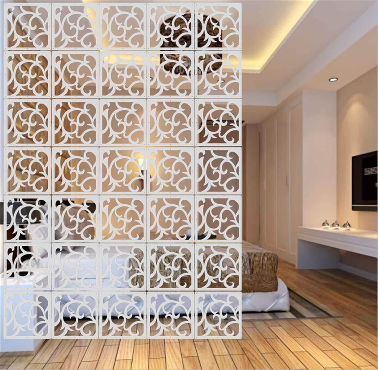 BMIDRUT 12Pcs White Hanging Divider Baltimore Mall Divid Room Limited time for free shipping Wood-Plastic