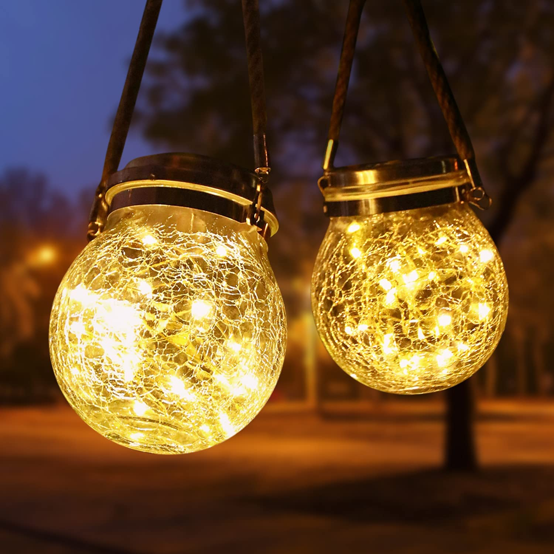 Solar Lantern, Outdoor Lanterns with 30 LED Waterproof Solar Lights Garden Decor Patio Solar Lights Outdoor Decorative Backyard Lights Solar Lanterns Outdoor Hanging ( 2 Pack )