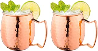 2PCS Moscow Mule Copper Mugs with Handles Classic Drinking Cup for Home, Kitchen, Bar Drinkware Helps Keep Drinks Colder, ...