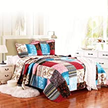 Bedspread Quilted Bed Throw Comforter Double Sided Reversible Patchwork Quilt Lightweight Blankets Coverlet Rustic Pastora...