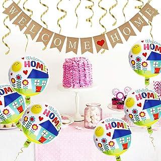 DECARETA Banner de Decoracion Welcome Home con 6 Piezas Welcome Home Balloons and Balloon Tape, Vintage Banner Garland y Welcome Home Balloons for Family Party