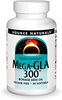 Source Naturals Mega-GLA 300 - Borage Seed Oil That is Hexane-Free - 30 Softgels