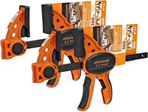 """Jorgensen 6"""" One Hand Clamp/Spreader, 300 Lbs Clamping Force, E-Z Hold Bar Clamps Set, Medium Duty, 2-pack"""