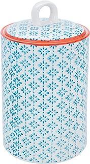 Nicola Spring Patterned Porcelain Kitchen Utensil Pot - Blue/Orange Print Design