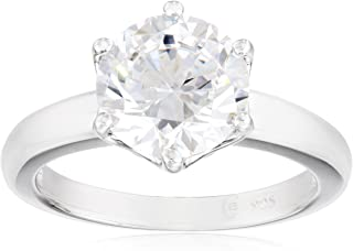 Platinum or Gold Plated Sterling Silver Round cut Solitaire ring made with Swarovski Zirconia