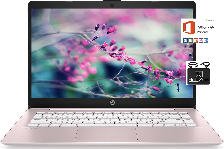 2021 Newest HP 14 inch HD Laptop Computer, Intel Celeron N4000 up to 2.6 GHz, 4GB DDR4, 64GB eMMC Storage, WiFi , Webcam, HDMI, Bluetooth, 1 Year Microsoft 365,Windows 10 S, Rose Pink + Hubxcel Cables