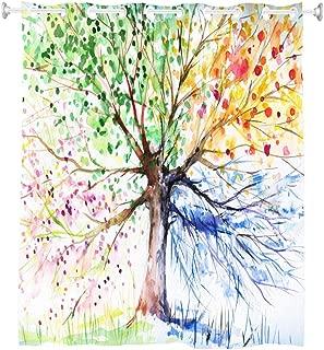 Goodbath Hookless Tree Shower Curtain, Four Season Color Tree of Life Design Waterproof Bathroom Curtains,72 x 72 Inch, Colorful