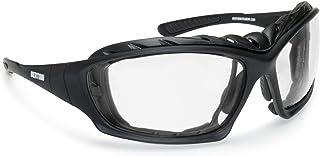 BERTONI Photochrome Motorradbrille Antibeschlag UV Schutz - mit austauschbare Bügel oder Kopfband - F366A Motorradbrille Windschutz für Brillenträger mit Sehstärke