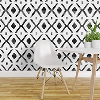 Spoonflower Pre-Pasted Removable Wallpaper, Geometric Tribal Boho Diamond Distressed Look Black and Print, Water-Activated Wallpaper, 24in x 144in Roll