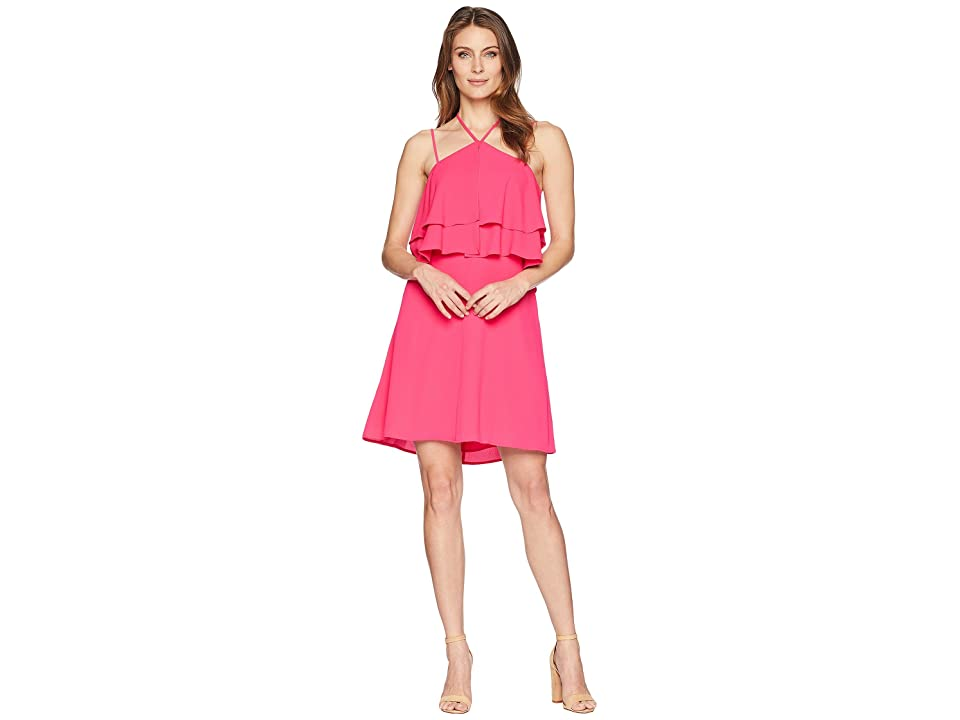 CeCe Halter Neck Ruffled Dress (Viva Pink) Women