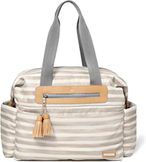 SKIP HOP Riverside Ultra Light, Oyster Stripe Messenger Diaper Bag with Matching Changing Pad