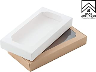 Bakery Paperboard Box with Window for Pastries, Cookies, Cakes, Pies, etc. (White and Brown/Size 8.66 x 4.5 x 1.18 in) Set of 12 (6 Kraft / 6 White)