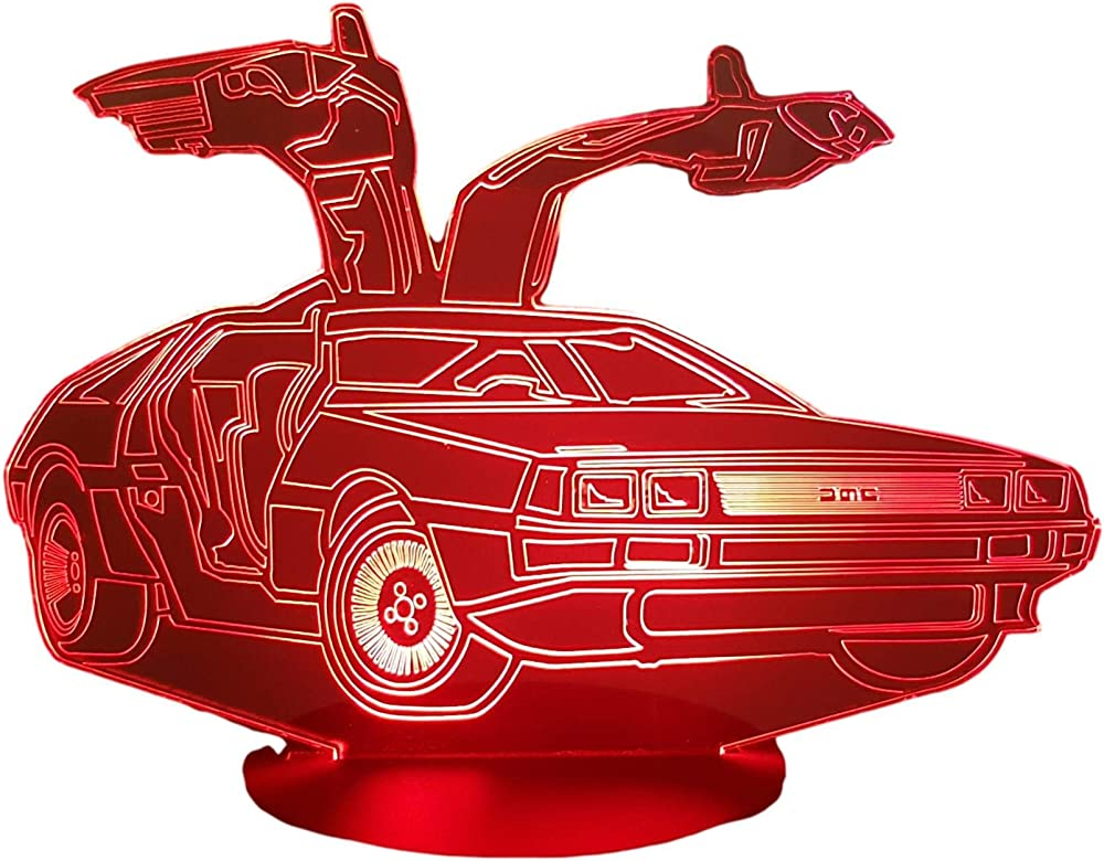 Delorean, lampada illusione 3d con led - 7 colori