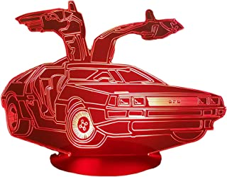 DELOREAN, Lampada illusione 3D con LED - 7 colori.