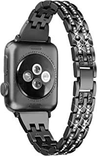 Secbolt Bling Bands Compatible Apple Watch Band 38mm 40mm iWatch Series 5/4/3/2/1 Diamond Rhinestone Metal Jewelry Wristband Strap, Black