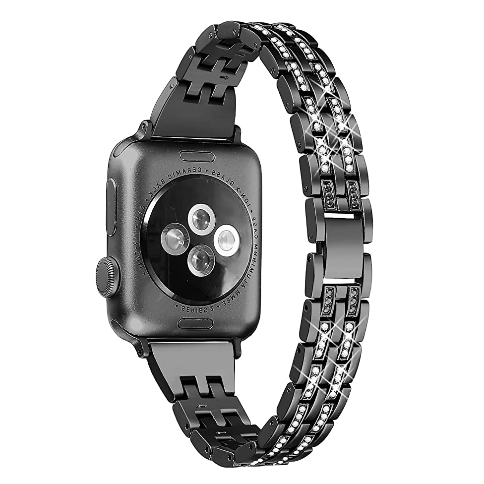 Secbolt Bling Bands Compatible Apple Watch Band 38mm 40mm iWatch Series 3, Series 2, Series 1, Diamond Rhinestone Metal Jewelry Wristband Strap, Black