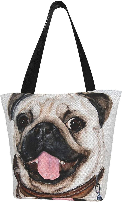 Pet Animal Funny Cute Happy Pug Dog Themed Printed Women Canvas Handbag Zipper Shoulder Bag Work Booksbag Tote Purse Leisure Hobo Bag For Shopping