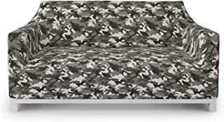 Ambesonne Camouflage Furniture Slipcover, Monochrome Attire Pattern Camouflage Inside Vegetation Fashion Design Print, Stretch Couch Cover Decorative 1 Piece Protector, Loveseat, Coconut Grey