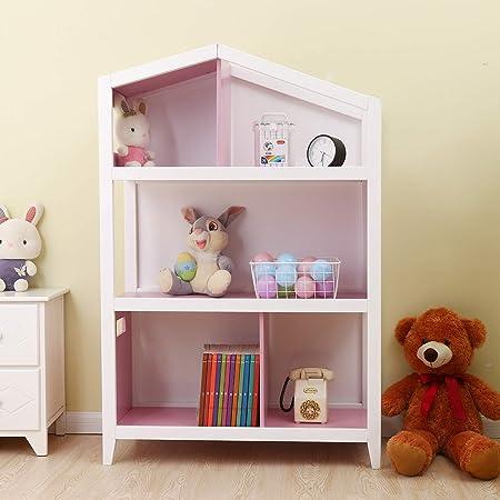 Bestmart Kids House Style Cottage Bookcase Wooden Furniture Book Storage Organizer Shelves