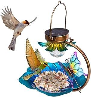 Solar Bird Feeder for Outside Hanging Wild Birdfeeders Seed Tray Outdoor Solar Powered Garden Light Metal Butterfly Decora...