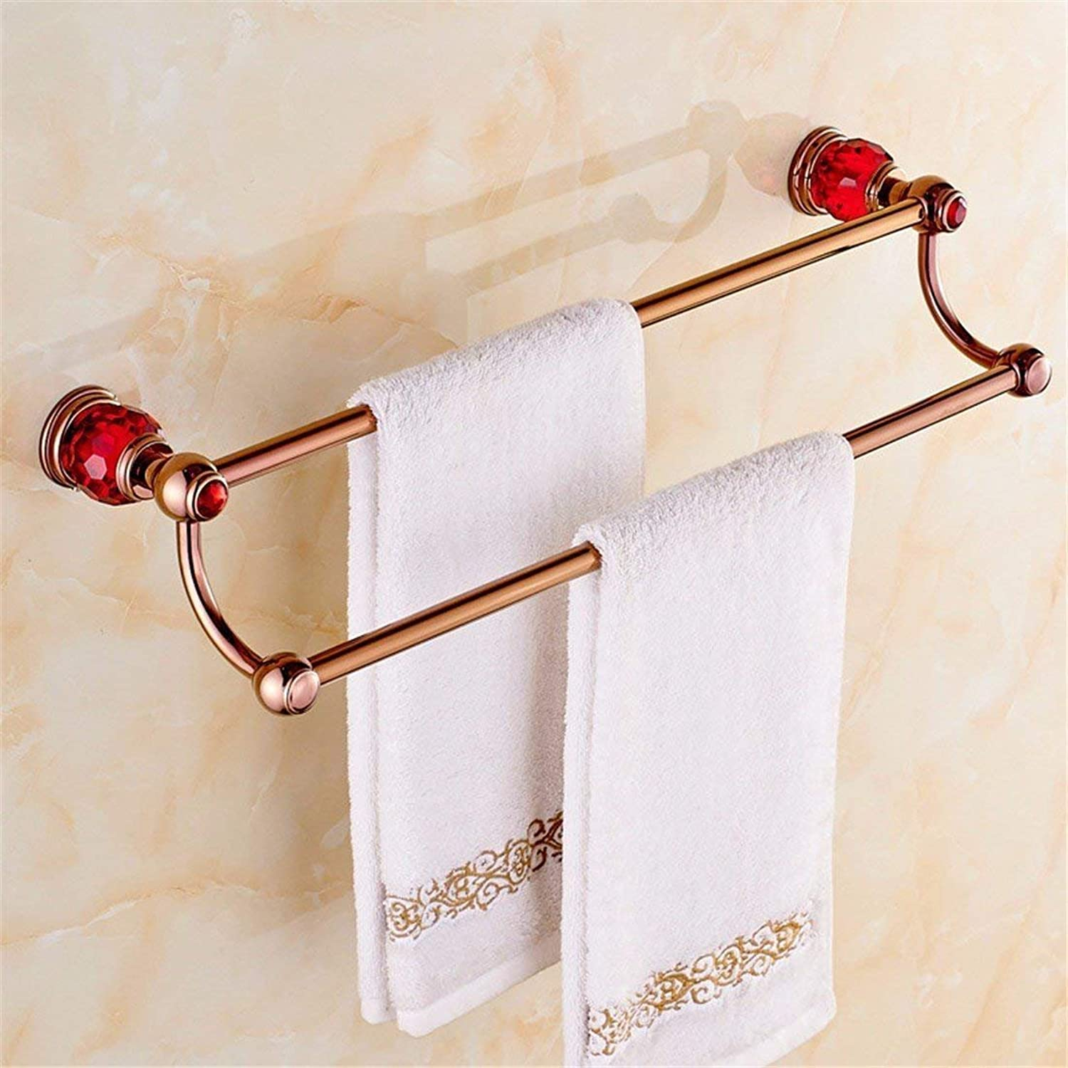 All Christmas red and Pink gold, Base in Crystal, Accessories for Bathroom, WC, Toilet Paper Rack Brush Rack,Double Pole