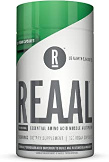 REAAL - REAAL Vegan Capsules, Helps Build, Restore, and Maintain Lean Muscle with Essential Amino Acids, Gluten Free, Bloat Free, Lactose Free, Caffeine Free, Vegan, 120 Capsules