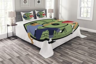 Lunarable Rock and Roll Bedspread, Vintage Young Couple Dancing in 50s Fashion Clock Face on The Background, Decorative Quilted 3 Piece Coverlet Set with 2 Pillow Shams, Queen Size, Multicolor