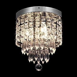 KingSo 3-Light Modern Chandelier Mini Crystal Ceiling Light Elegant Flush Mount Light Fixtures for Bedroom Living Room Hallway, G9 Base