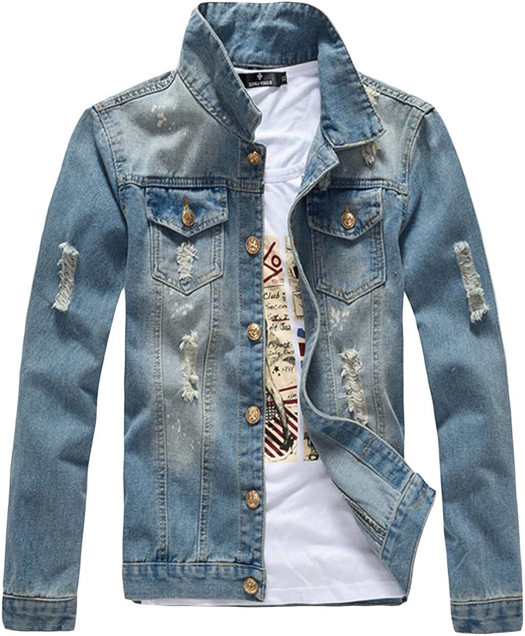 sandbank Men¡¯s Classic Button Slim Fit Ripped Washed Denim Jacket Jean Coat