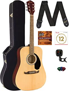 Fender FA-125 Dreadnought Acoustic Guitar - Natural Bundle with Hard Case, Tuner, Strap, Strings, Picks, and Austin Bazaar...