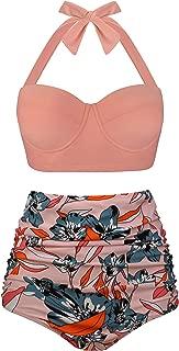 Women Vintage Polka Dot High Waisted Bathing Suits Bikini Set