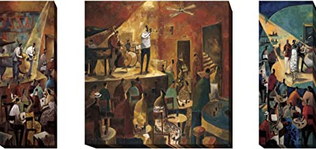 Jazz Club, Red Jazz & Blue Jazz by Didier Lourenco 3-pc Premium Oversize Gallery-Wrapped Canvas Giclee Art Set (37 in x 37 in Center Piece, 37 in x 15 in Each Side Panel, Ready-to-Hang)